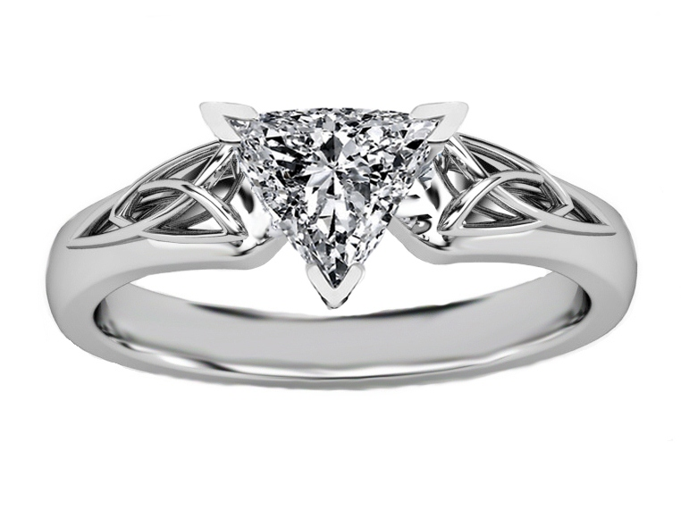Trillion Diamond Triquetra Celtic Engagement Ring in 14K White Gold