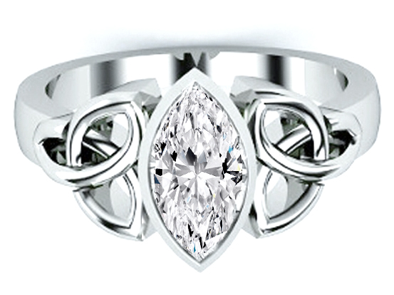 Triquetra Celtic Solitaire Marquise Diamond Engagement Ring in 14K White Gold