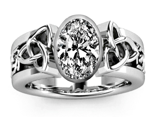 Triquetra Celtic Solitaire Oval Diamond Engagement Ring in 14K White Gold