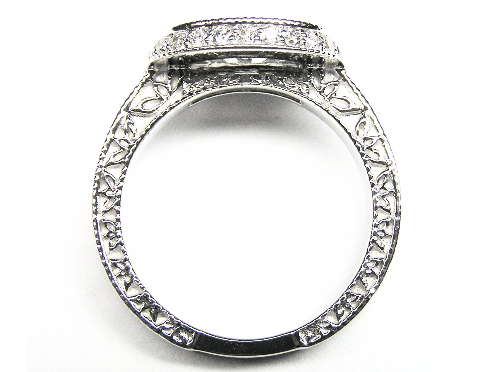 Horizontal Oval Diamond Double Halo Engagement Ring Engraved band in 14K White Gold