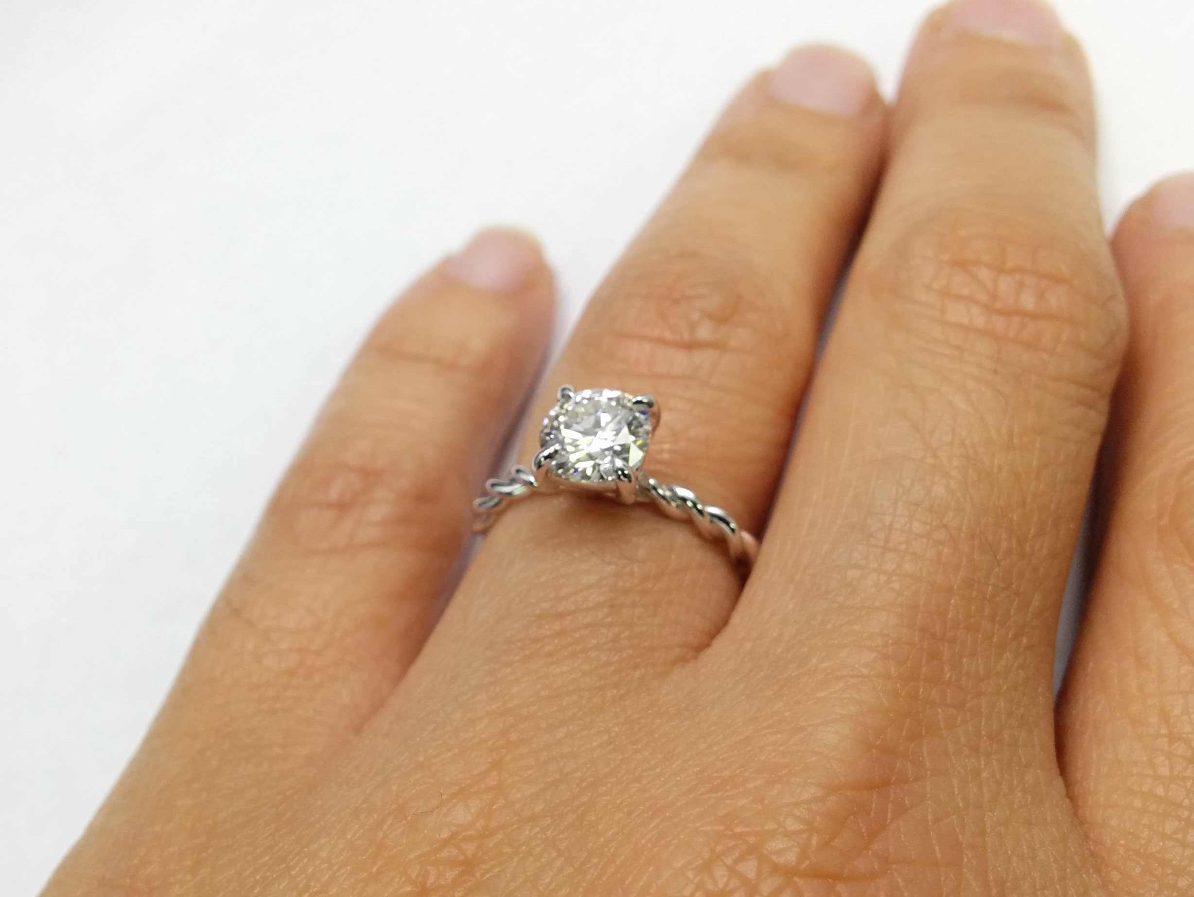 Engagement Ring Woven Solitaire Diamond Engagement Ring in 14K