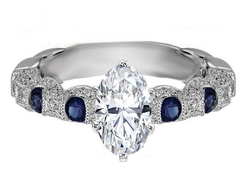 Oval Diamond Vintage Pave Engagement Ring Blue Sapphire accents 0.87 tcw in White Gold