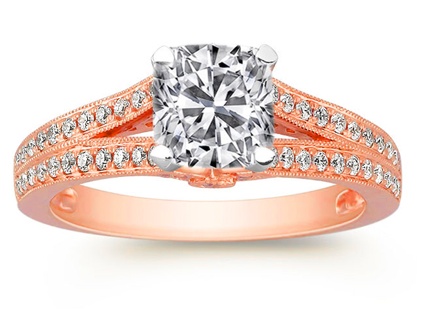 Cushion Diamond Cathedral Split band pave gallery Engagement Ring in Rose Gold