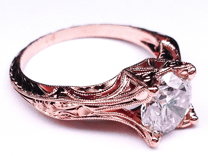 Engagement Ring Vintage Petite Hand Engraved Rose Gold Filigree