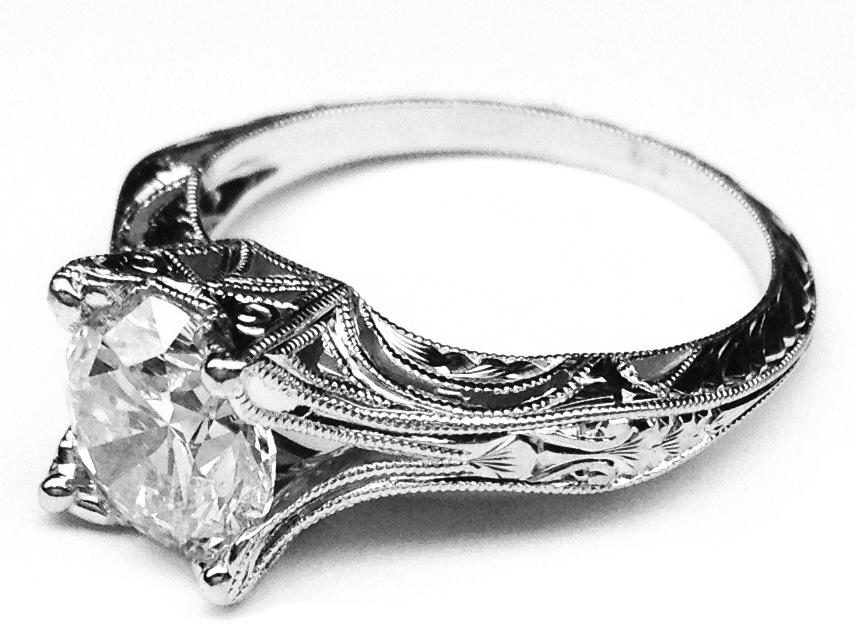 Vintage Petite Hand Engraved White Gold Filigree Engagement Ring