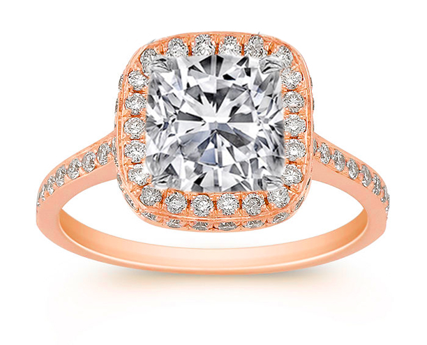 Cushion diamond Double Halo Cathedral Engagement ring in Rose gold