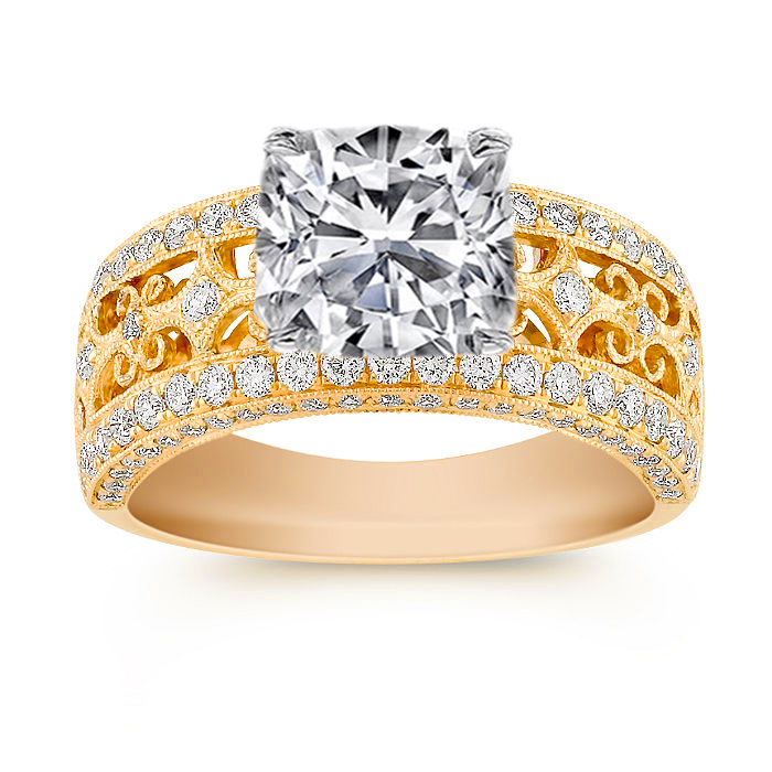 Cushion Diamond Engagement Ring 1.04 tcw Filigree pave in 14K Yellow Gold