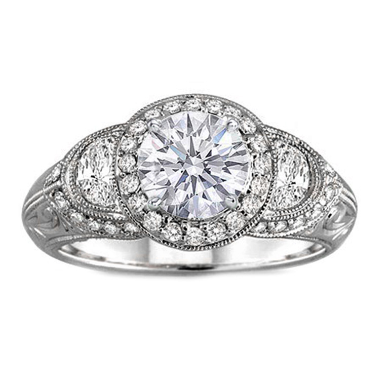 Diamond Halo Engagement Ring Half Moons Diamond sides in 14K White Gold