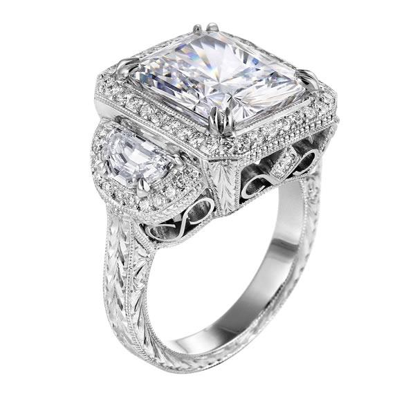 Engagement Ring Square Diamond Vintage Engagement Ring with Half Moon Diamon