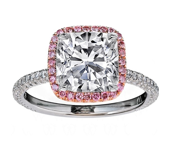 Cushion Diamond Engagement Ring Natural Pink Diamond Halo Rose gold