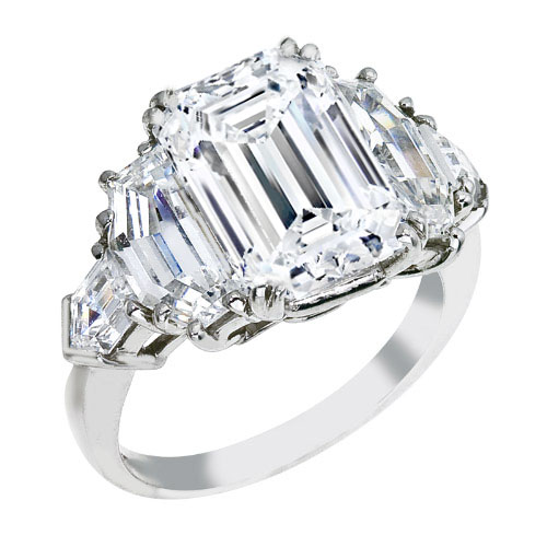 Emerald Cut Diamond Engagement Ring, Cadillac and Bullet Side Stones in 14K White Gold