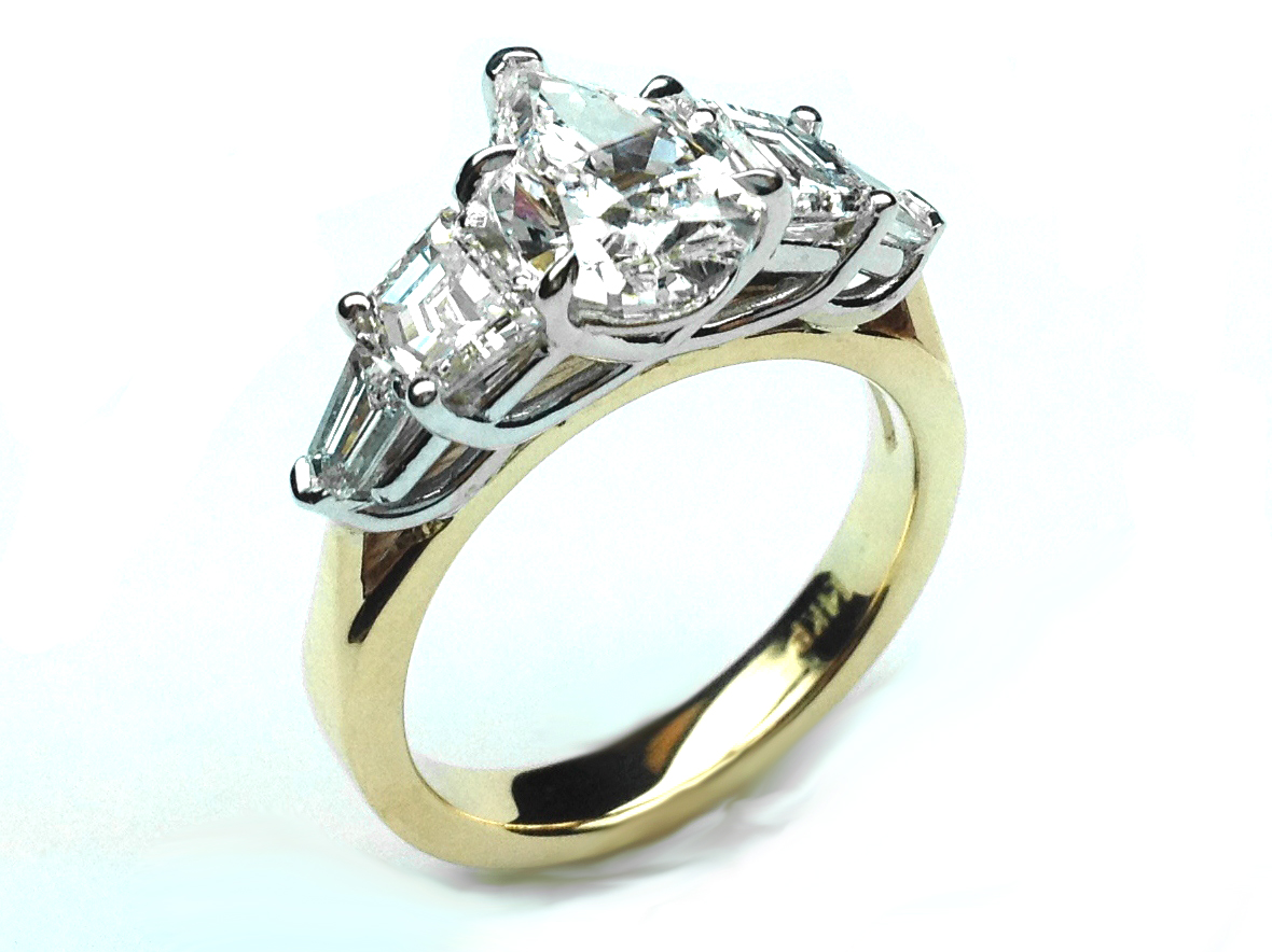 Pear Diamond Engagement Ring, Cadillac and Bullet Side Stones in 14K Yellow Gold