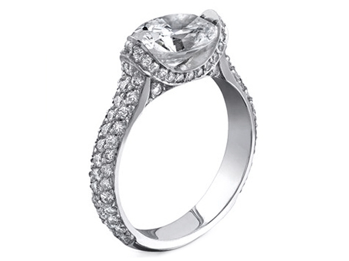Horizontal Oval Diamond Pave Engagement Ring in 14K White Gold