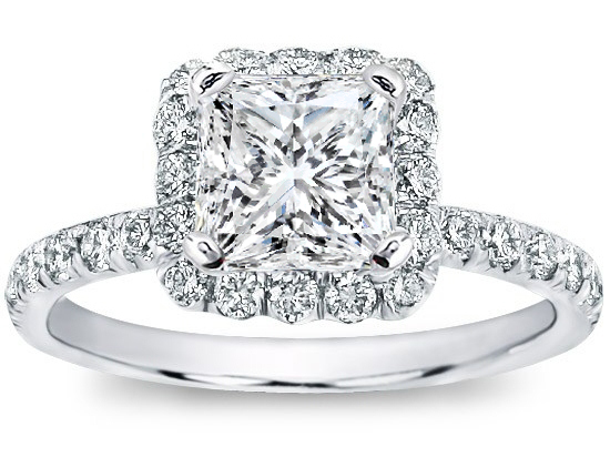 Princess Diamond Halo Engagement Ring Diamond Band in 14K White Gold