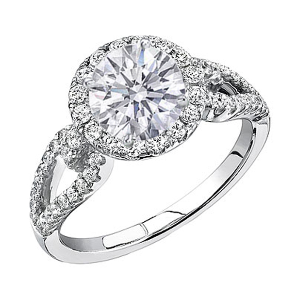 open horseshoe diamond halo engagement ring 059 tcw in 14k white gold - Horseshoe Wedding Rings