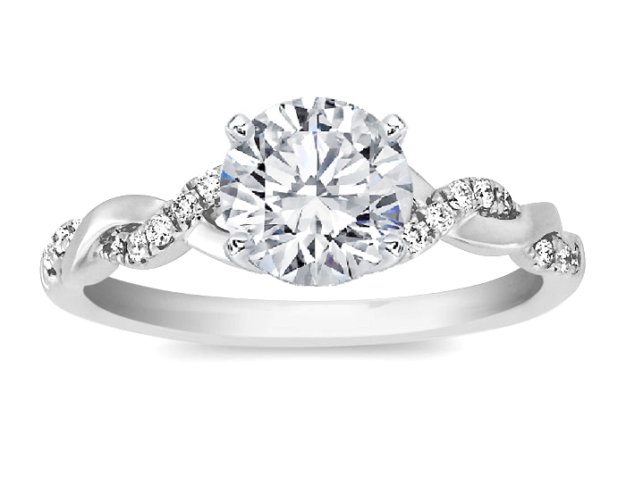 Engagement Ring -Petite Twisted Pave Band Diamond Engagement Ring in 14K  White Gold-ES873BRWG