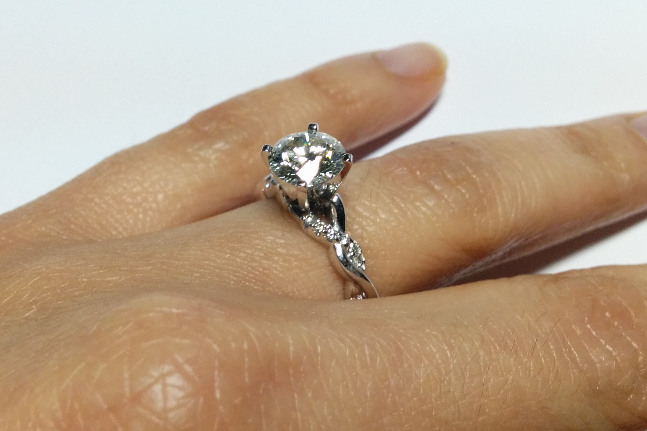 Petite Twisted Pave Band Diamond Engagement Ring in 14K White Gold