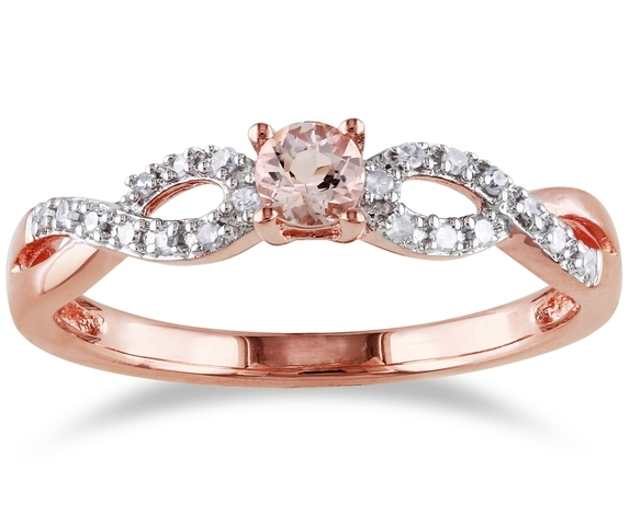 European Engagement Ring Morganite infinity Diamond Ring in 14K