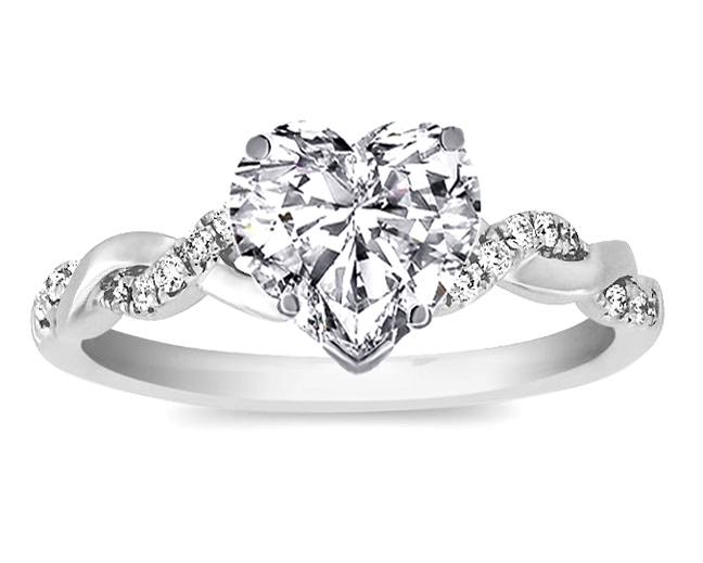 heart shape diamond petite twisted pave band engagement ring in 14k white gold - Heart Shaped Wedding Rings