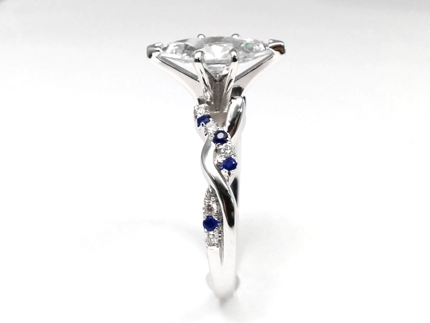 Marquise Diamond Petite Twisted Pave Band With Blue Sapphires Engagement Ring in 14K White Gold