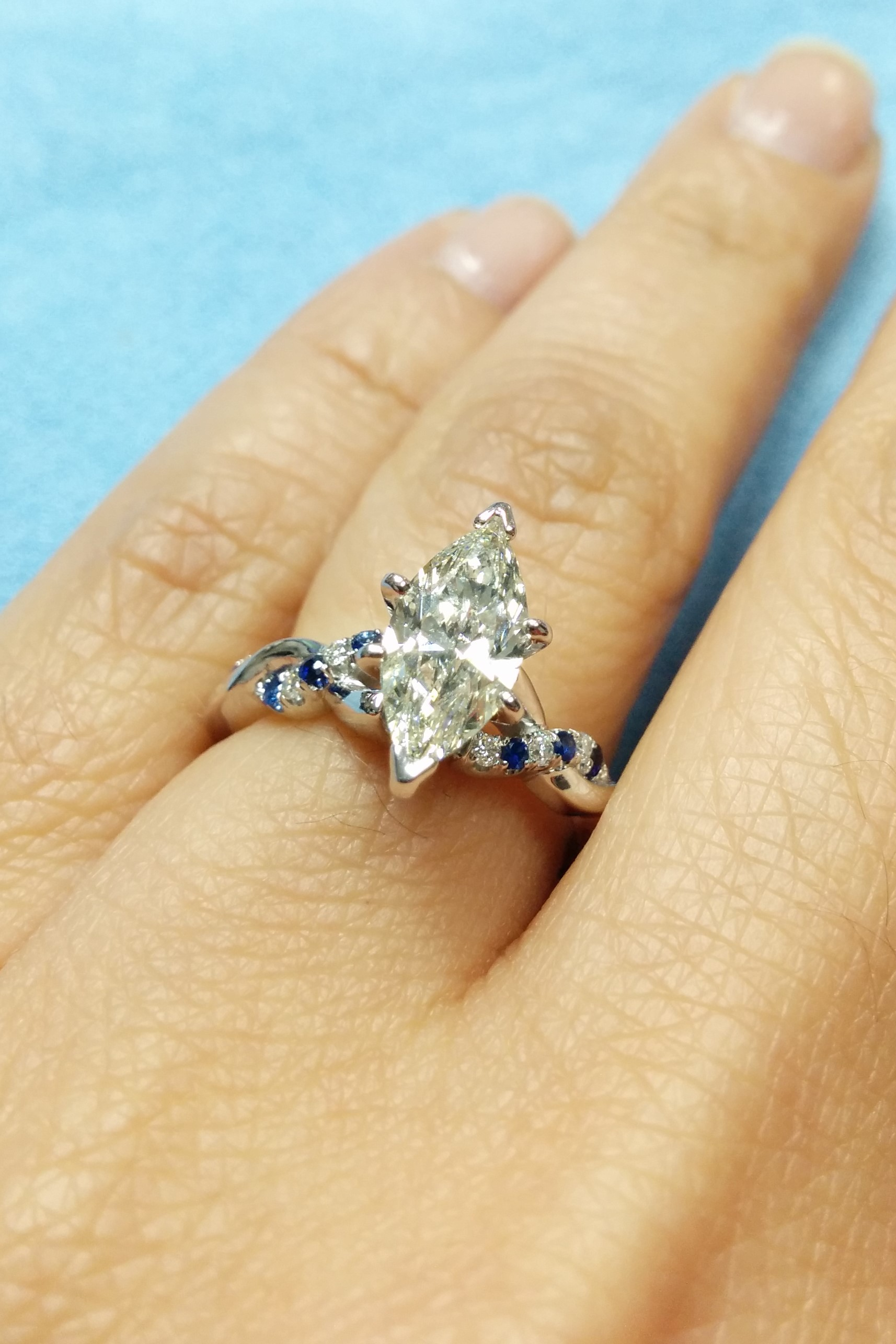Engagement Ring Marquise Diamond Petite Twisted Pave Band With
