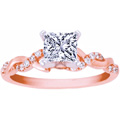 Princess Diamond Petite Twisted Pave Band Engagement Ring in 14K Pink Gold