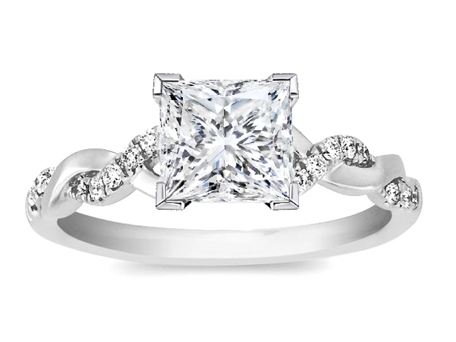 Princess Diamond Pee Twisted Pave Band Engagement Ring In 14k White Gold