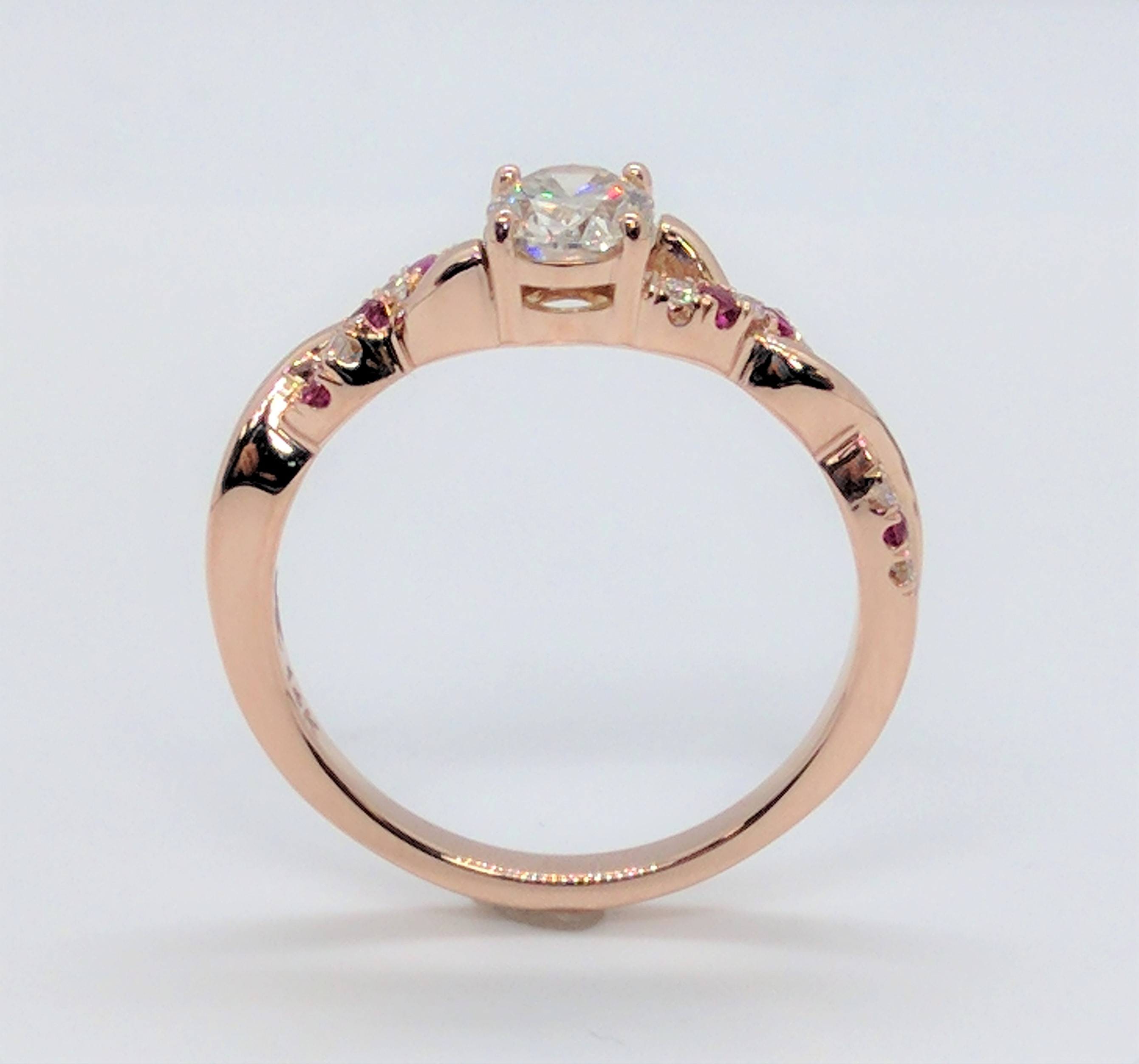 Oval Diamond Infinity Ruby  Engagement Ring Rose Gold