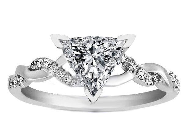 Trillion Cut Diamond Petite Twisted Pave Band Engagement Ring in 14K White Gold