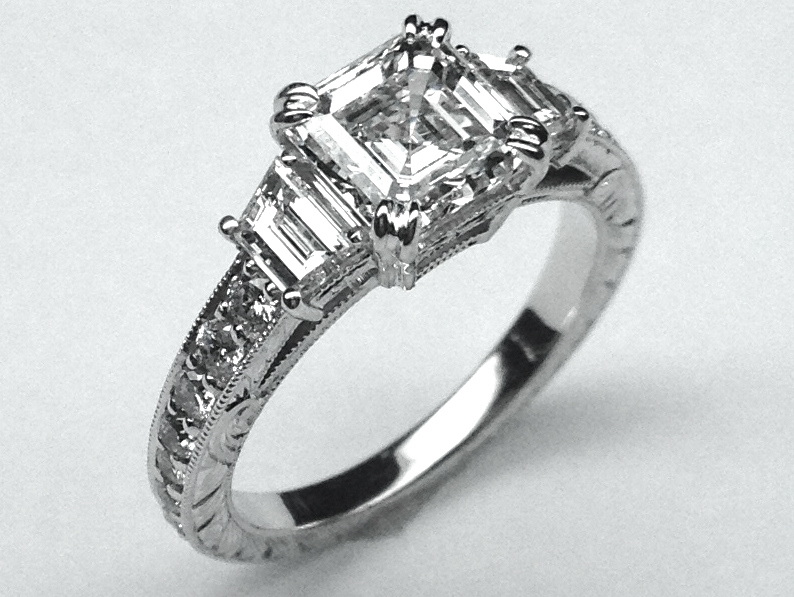 Asscher Diamond Engagement Ring with Trapezoids 0.80 tcw