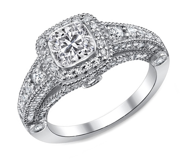 Cushion Diamond Legacy Engagement Ring graduated Pave Halo in 14K White Gold