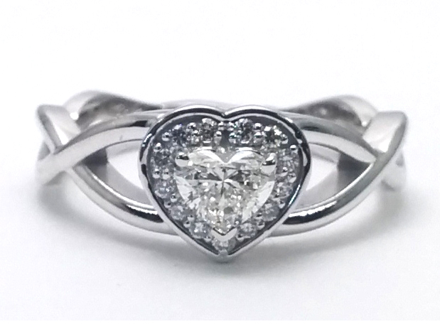 Engagement Ring Heart Shape Diamond Halo Engagement Ring Infinity