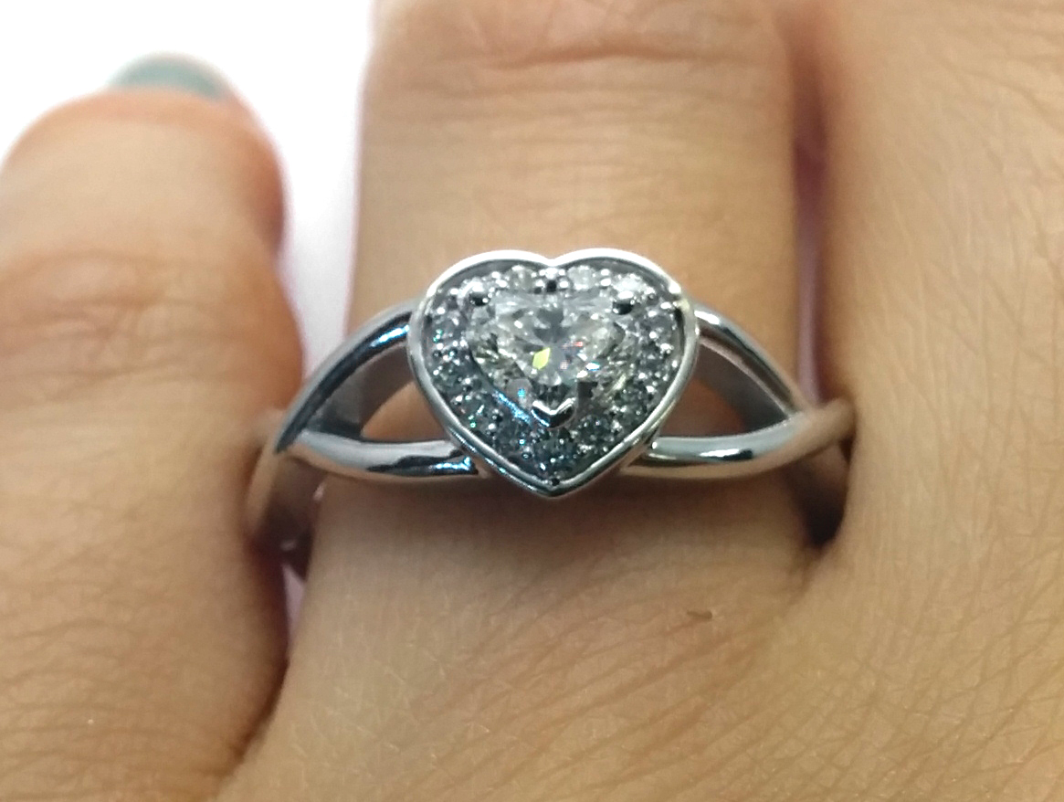 Heart Shape Diamond Halo Engagement Ring Infinity band in 14K White Gold