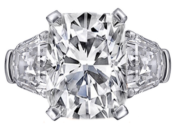 Large Cushion cut Diamond Engagement Ring with Shield cut side Diamonds in Platinum