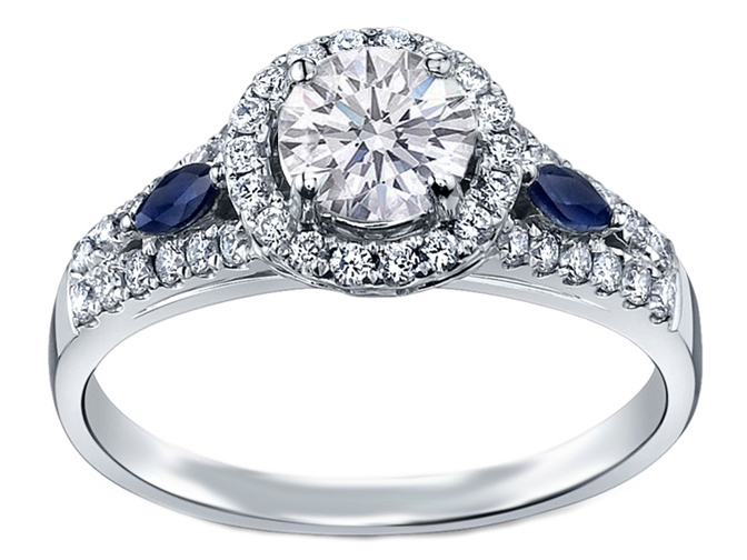 rings ring engagement stone promise accents cut accent princess blue products diamond with enhanced