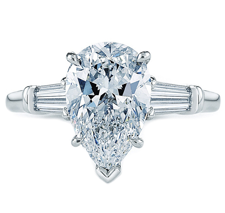 Pear Shaped Diamond Engagement Ring with Tapered Baguette Diamond Accents 0.30 tcw.