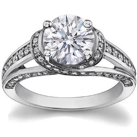 engagement ring criss cross diamond engagement ring tcw pave in
