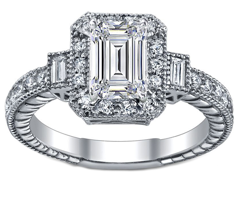 Engagement Ring Three Stone Emerald Cut Diamond Engagement Ring 0 4 carat wi