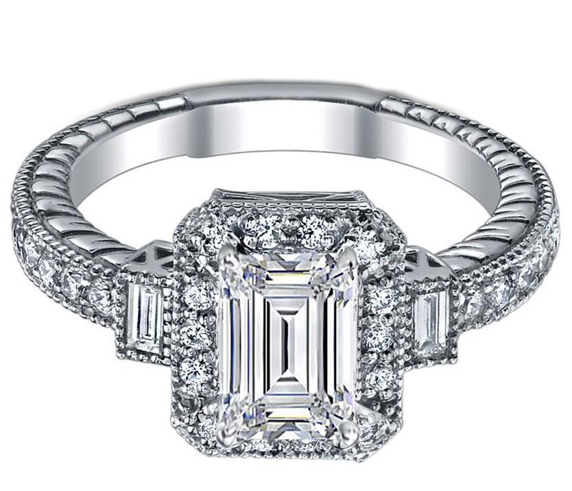 Engagement Ring Three Stone Emerald Cut Diamond Engagement Ring 0 4 carat wi
