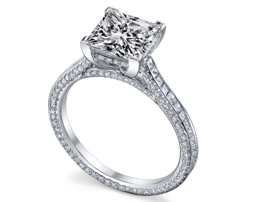 Princess Diamond three sides pave eternity Engagement Ring 2.7 tcw in 14K White Gold