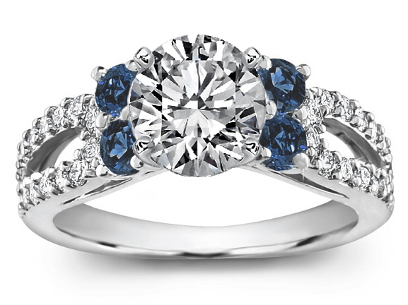 Round Diamond Open Pave Horseshoe engagement ring blue accent in 14K White Gold