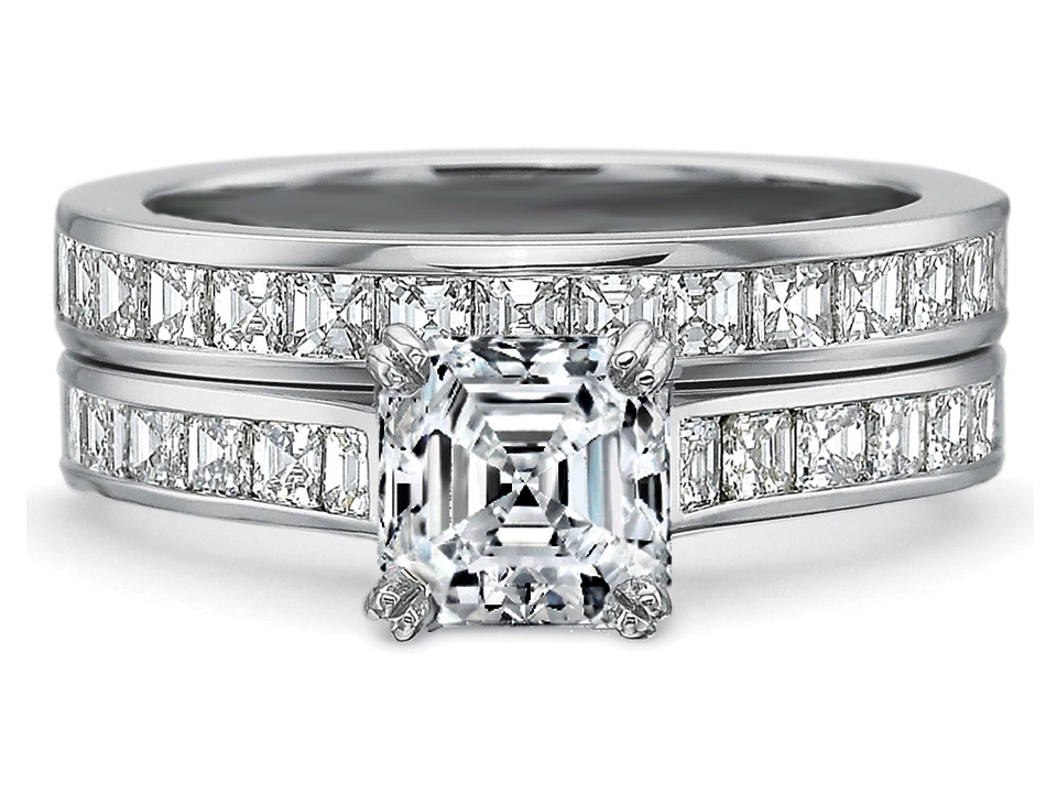 engagement ring asscher diamond engagement ring square diamonds band bridal set in 14k white gold 165tcw es900acbs - Square Diamond Wedding Rings