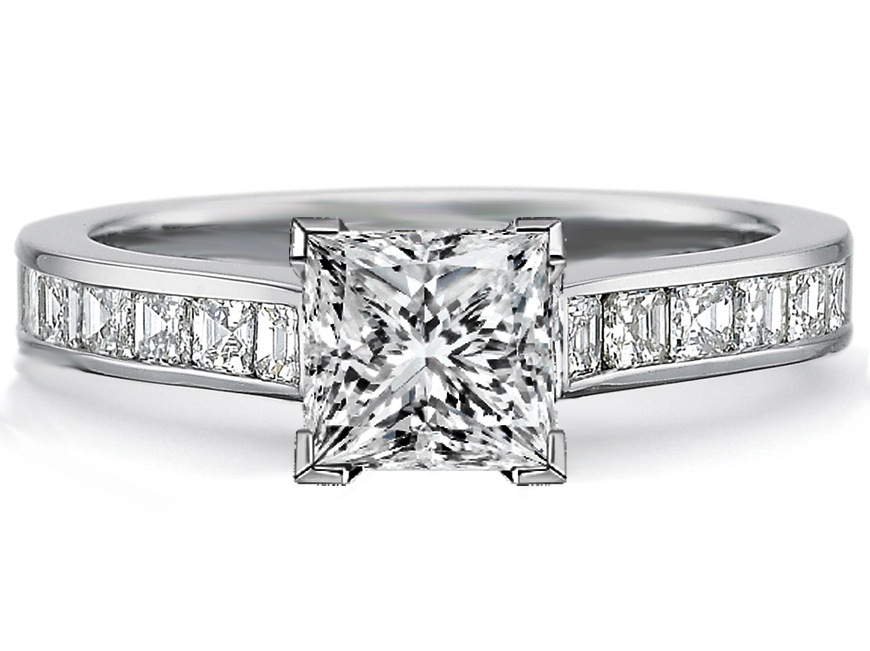 princess diamond engagement ring square diamonds band in 14k white gold 080tcw - Square Diamond Wedding Rings