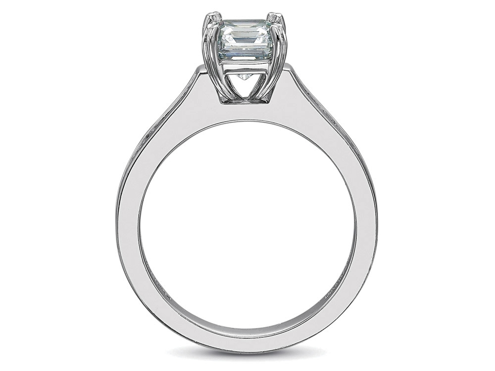 Radiant Diamond Engagement Ring square Diamonds band, 0.80tcw.