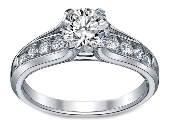 Bridge Diamond Engagement Ring 0.46 tcw in 14K White gold