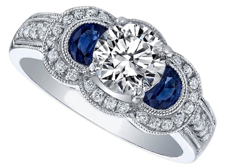 Diamond Halo Engagement Ring Blue Sapphire Half Moons in 14K White Gold