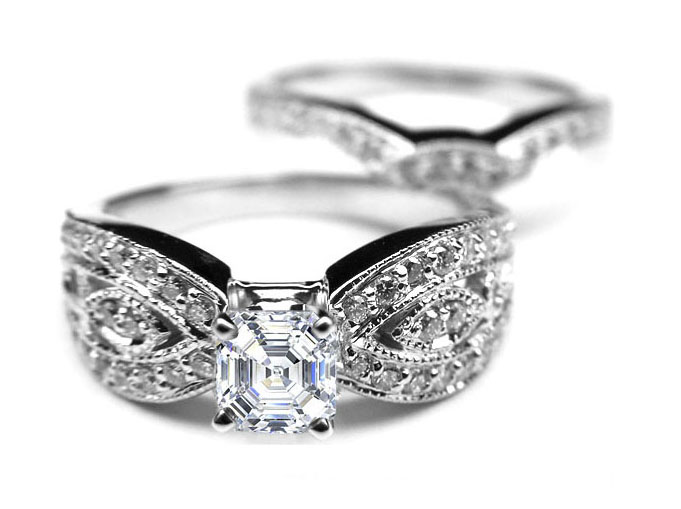 Asscher Cut Diamond Butterfly Engagement Ring & matching Wedding band Bridal set in 14k White Gold