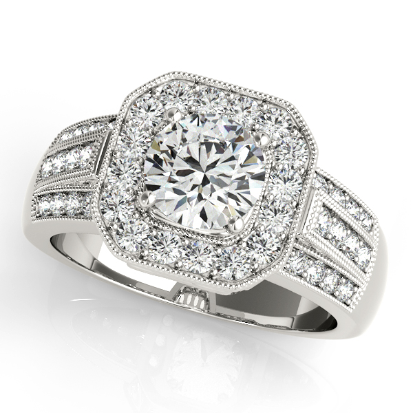 Square Halo Diamond Wide Engagement Ring with Multi-Row Band & Filigree