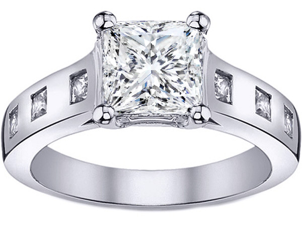 Skylight Princess Diamond Engagement Ring 0.18 TCW in 14K White Gold