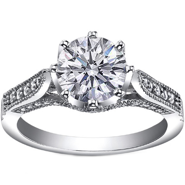Round Diamond Edwardian Eight Prong Engagement ring in 14K White Gold